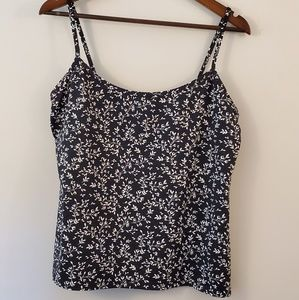 Lands End  black and white tank flowers size 14